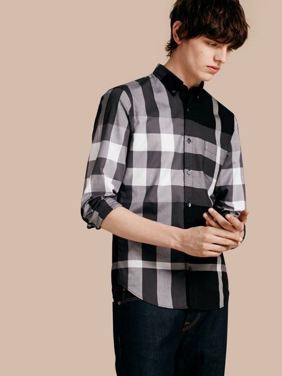 Check Cotton Shirt Black