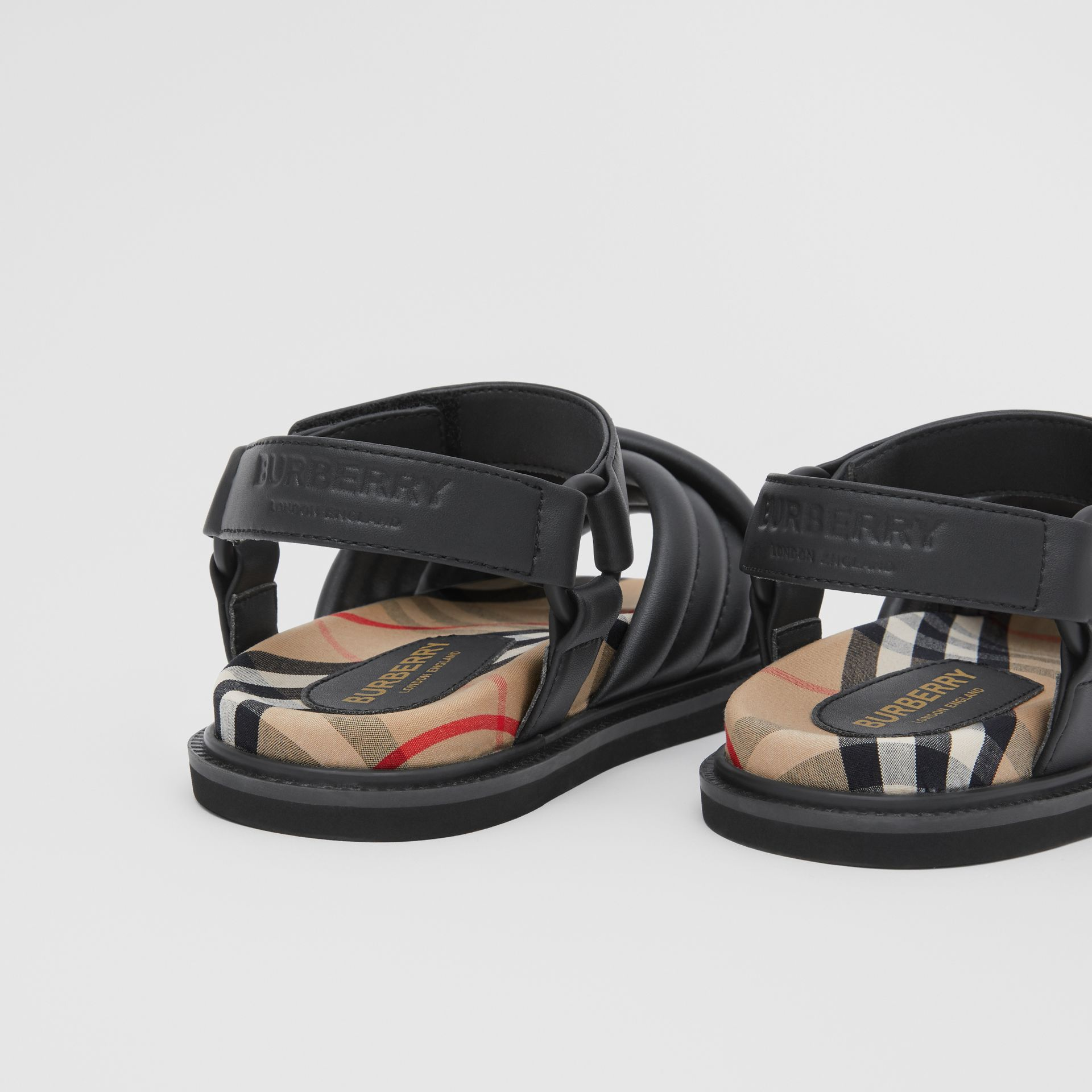 Vintage Check-lined Quilted Sandals in Black - Children | Burberry - gallery image 1