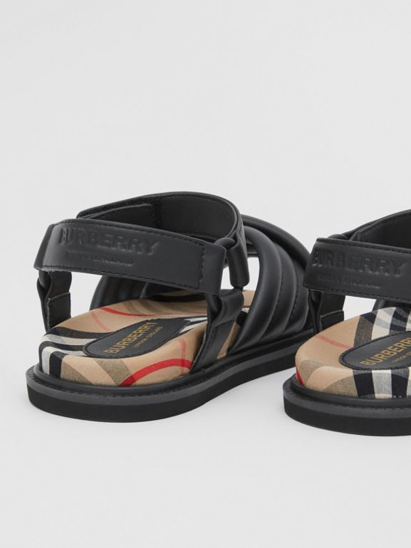 Vintage Check-lined Quilted Sandals in Black - Children | Burberry - cell image 1