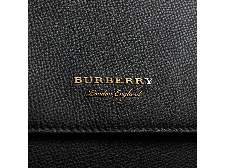 Leather and House Check Satchel in Black - Men | Burberry - cell image 1