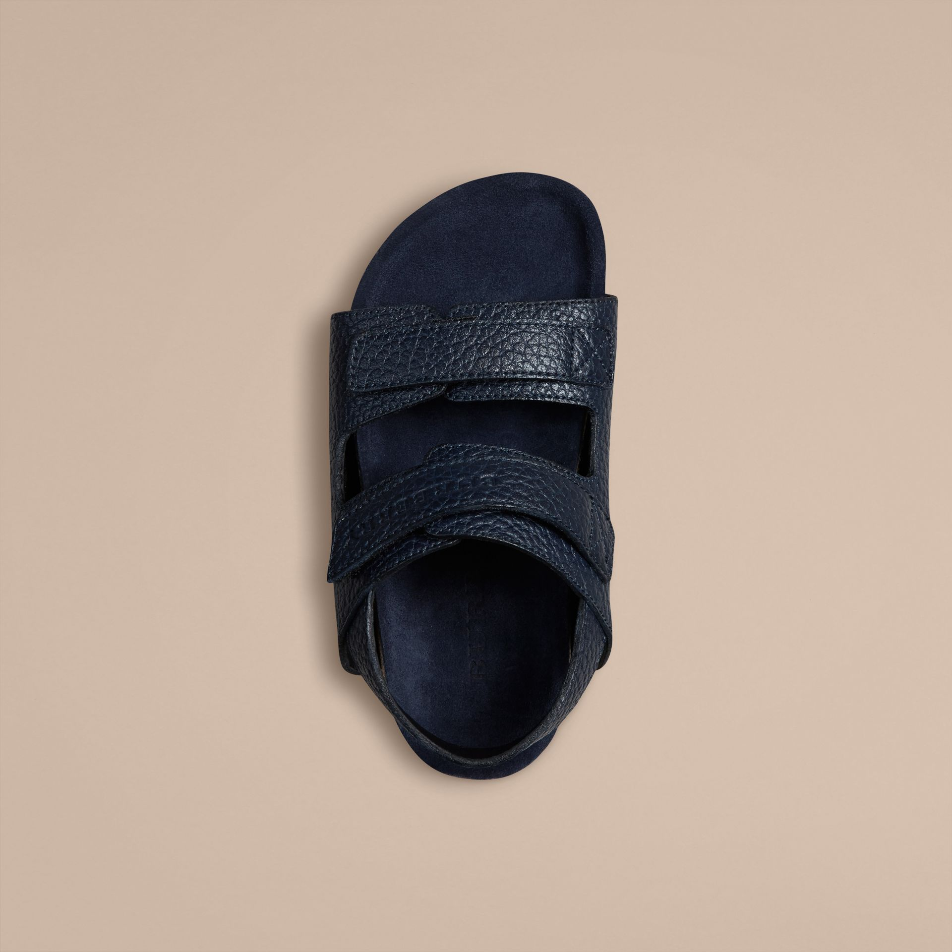 Navy Grainy Leather Sandals - gallery image 2