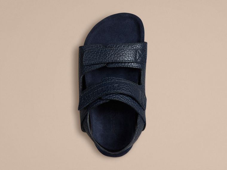 Navy Grainy Leather Sandals - cell image 1