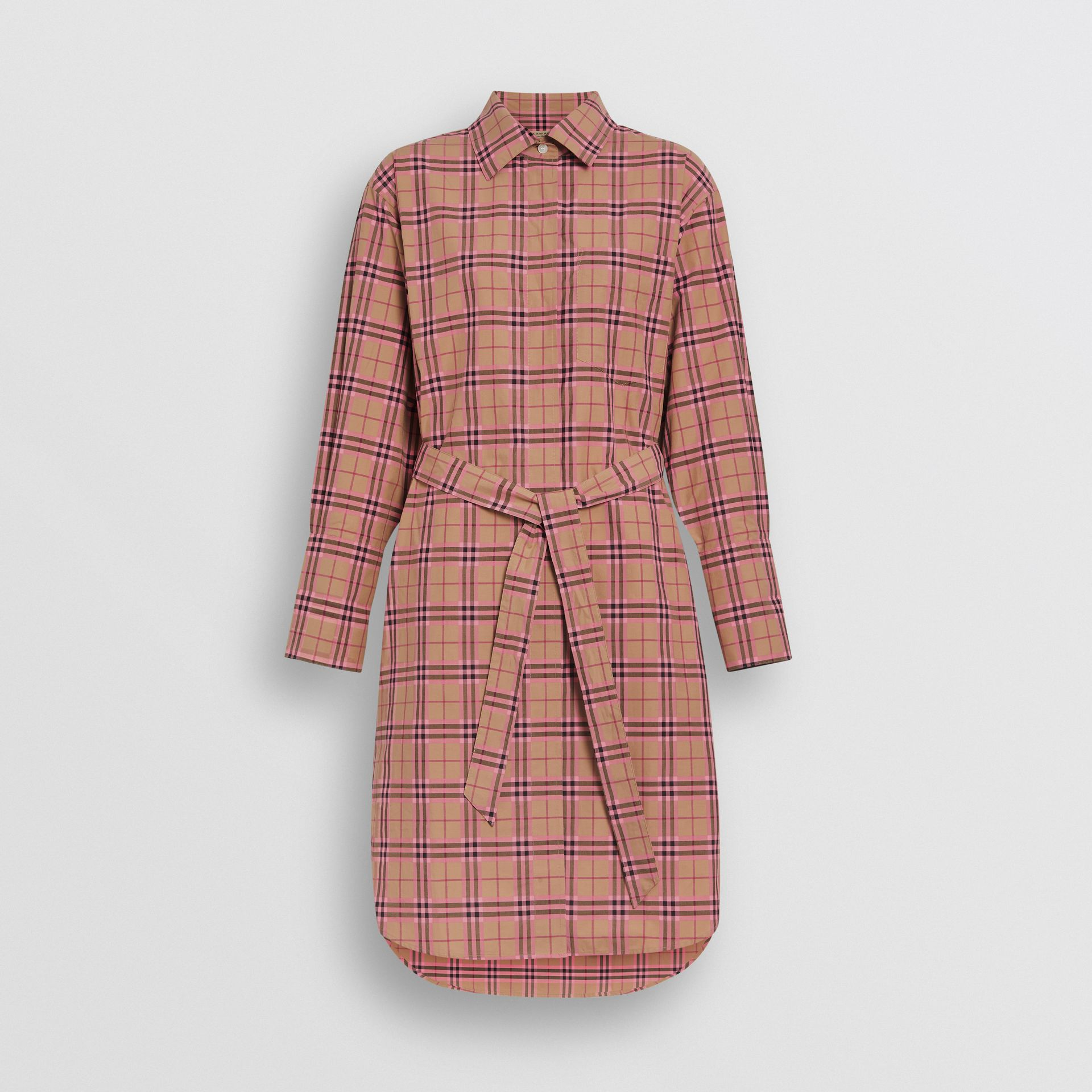Check Cotton Shirt Dress in Pomegranate Pink - Women | Burberry United States - gallery image 3