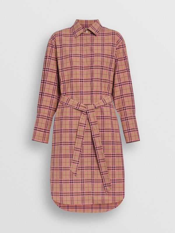 Check Cotton Shirt Dress in Pomegranate Pink - Women | Burberry - cell image 3