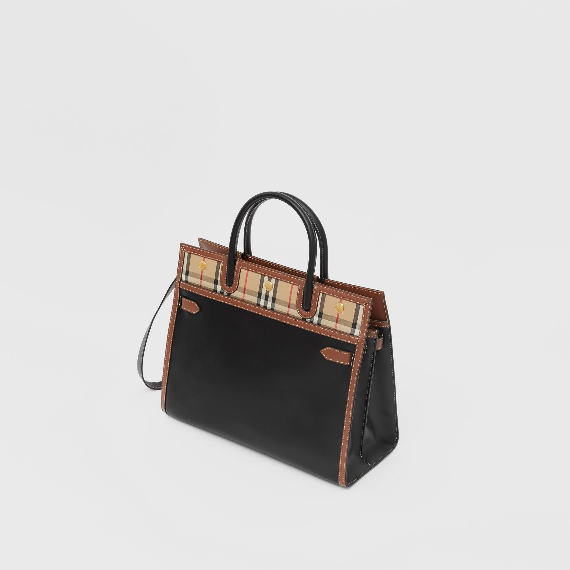 Mini Leather and Vintage Check Two-handle Title Bag in Black - Women | Burberry - gallery image 3