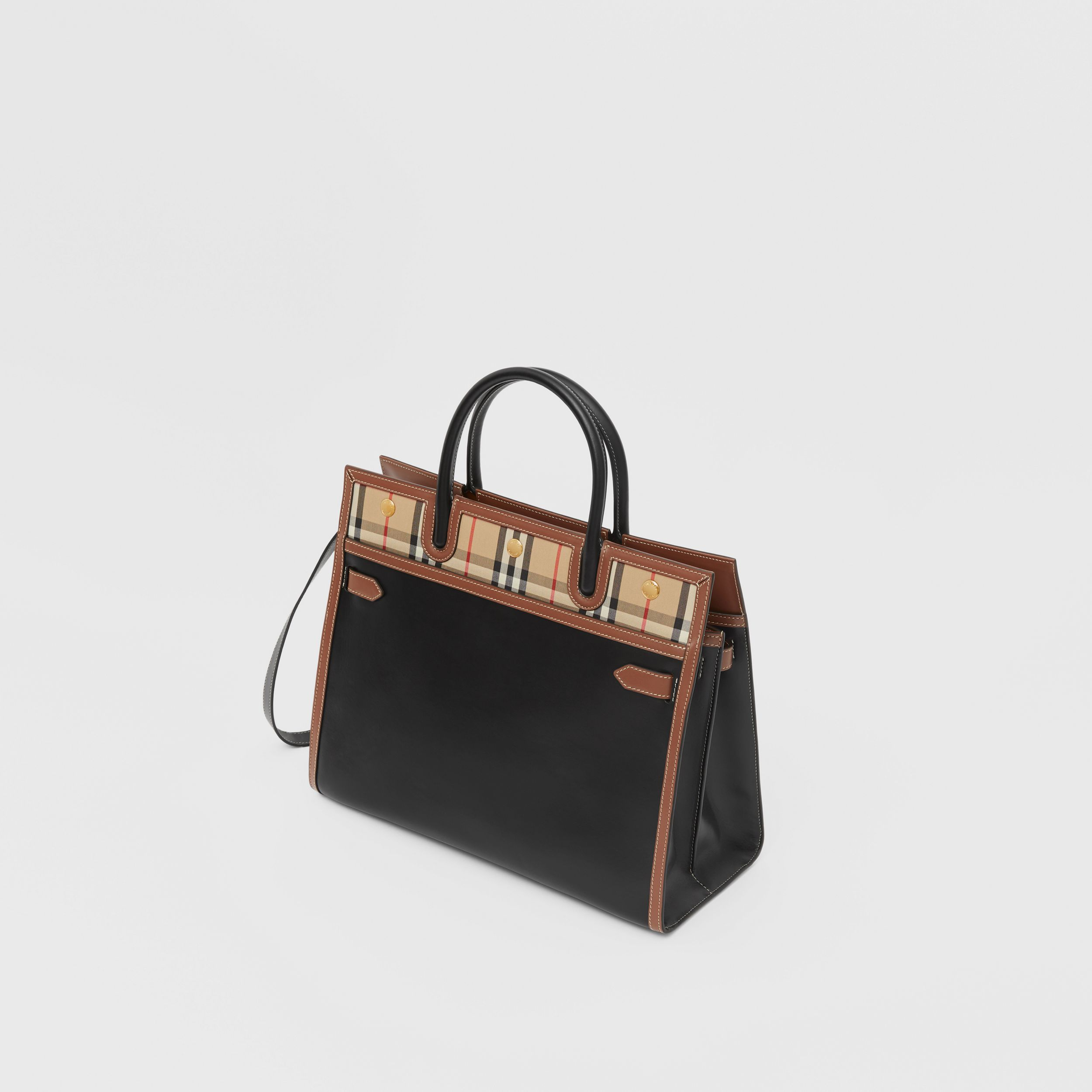Mini Leather and Vintage Check Two-handle Title Bag in Black - Women | Burberry - 4