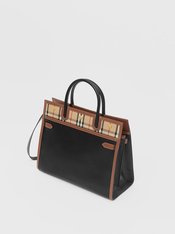 Mini Leather and Vintage Check Two-handle Title Bag in Black - Women | Burberry - cell image 3