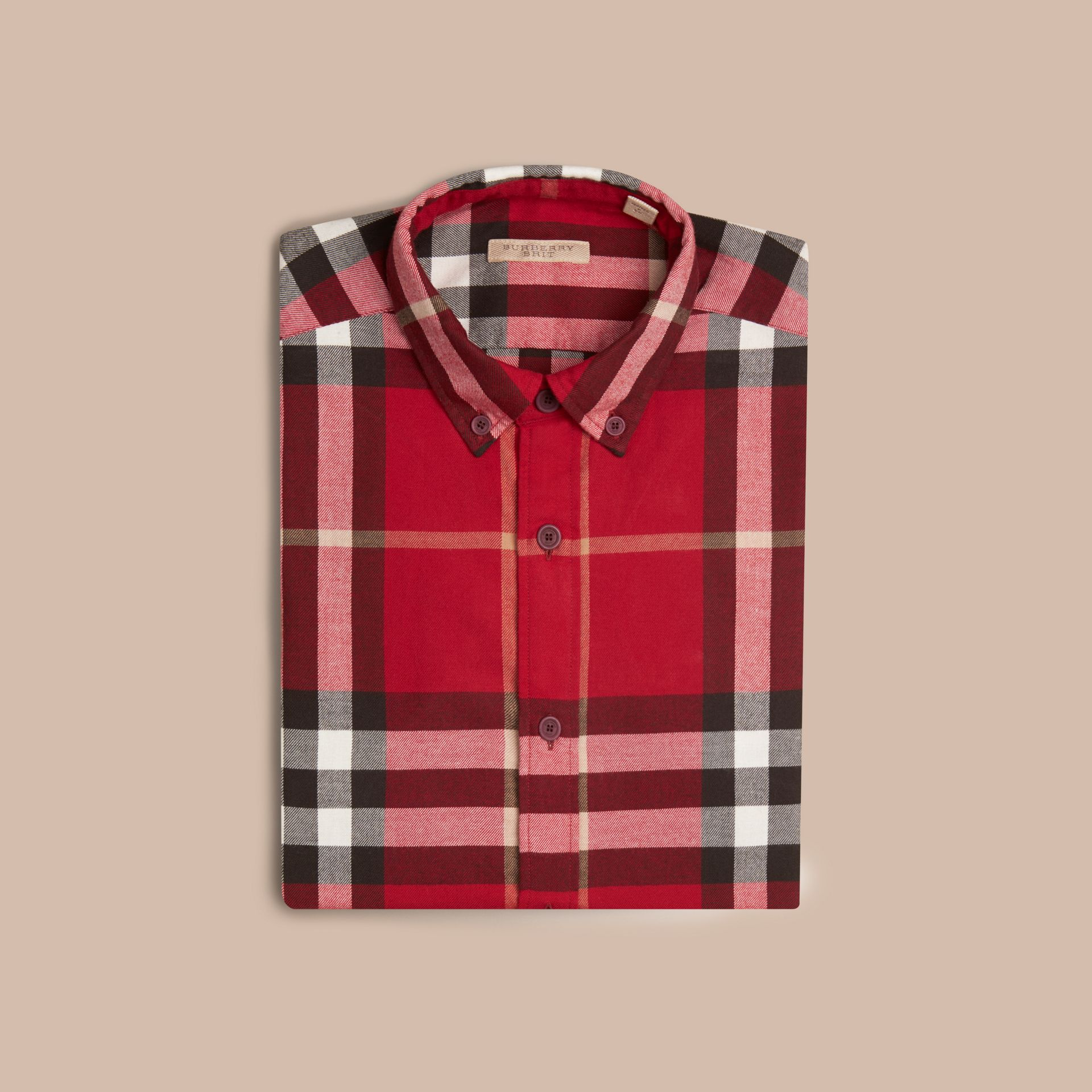 Parade red Check Cotton Flannel Shirt Parade Red - gallery image 4