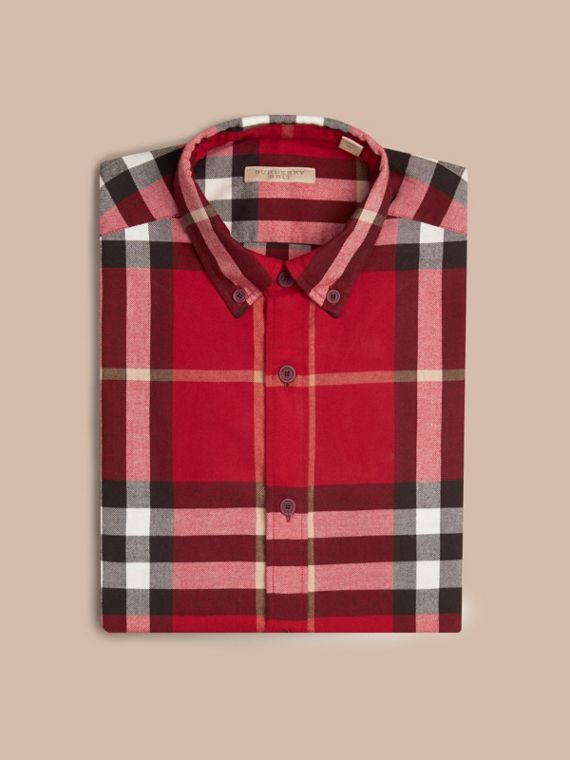 Parade red Check Cotton Flannel Shirt Parade Red - cell image 3
