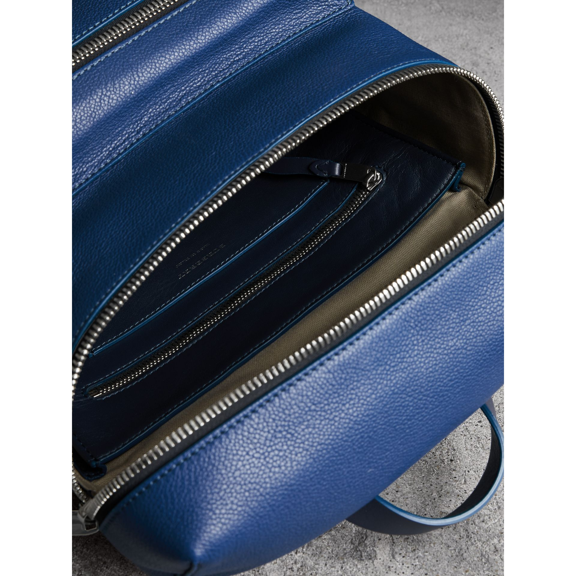 Zip-top Leather Backpack in Bright Ultramarine - Men | Burberry Australia - gallery image 5