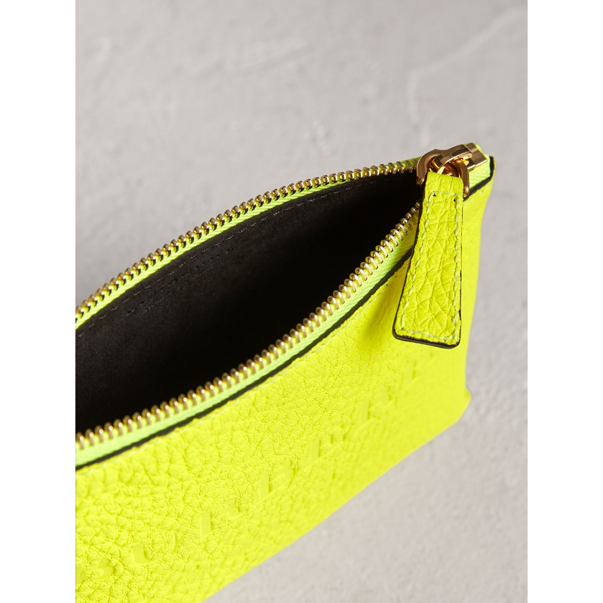 Small Embossed Leather Zip Pouch in Bright Yellow | Burberry - gallery image 3