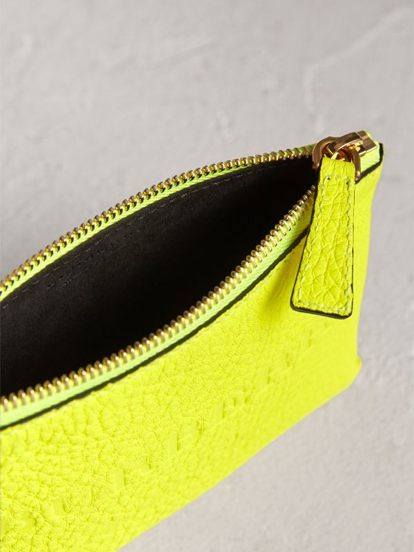 Small Embossed Leather Zip Pouch in Bright Yellow | Burberry - cell image 3