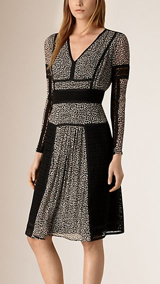 Paneled Lace and Leopard Print Silk Dress