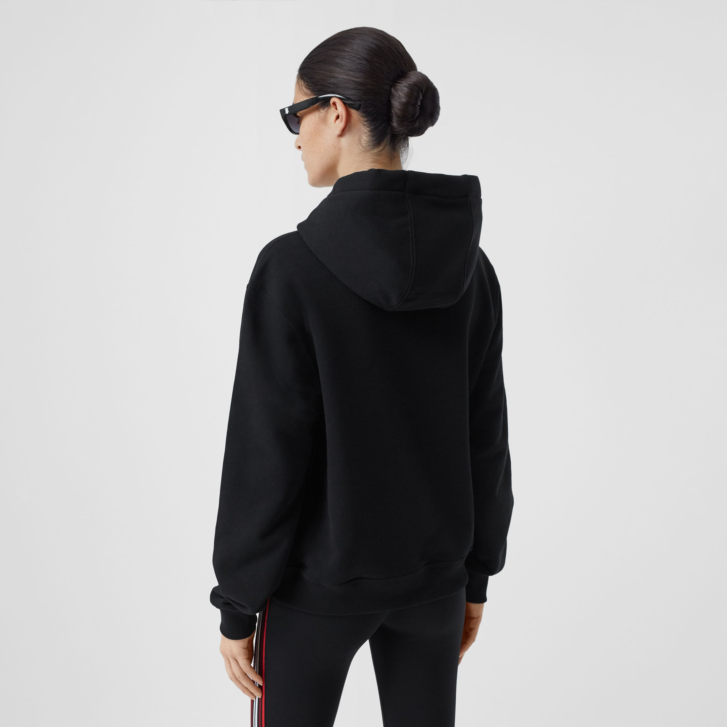 Monogram Motif Cotton Hoodie in Black - Women | Burberry - 3