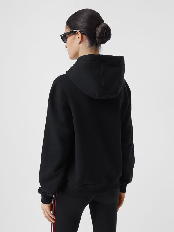 Monogram Motif Cotton Hoodie in Black - Women | Burberry - cell image 2