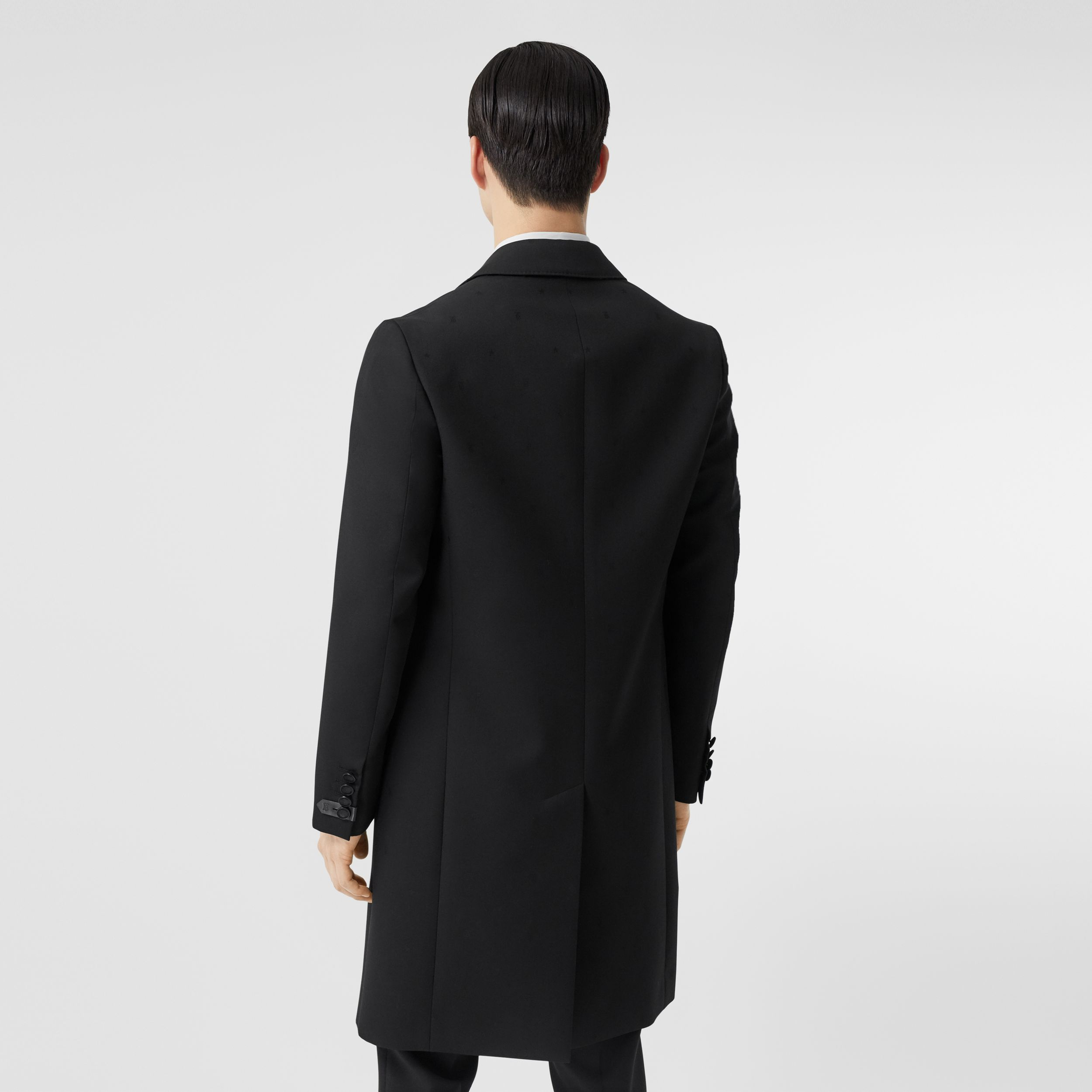 Wool Silk Tailored Coat in Black - Men | Burberry - 3