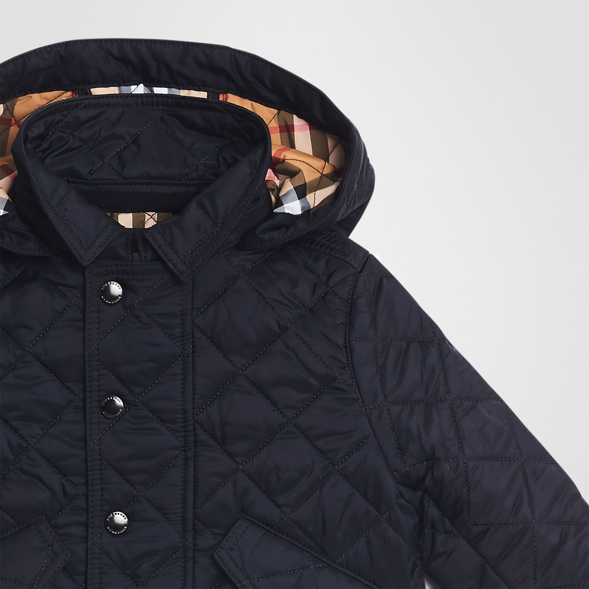 Diamond Quilted Hooded Jacket in Navy - Children | Burberry - gallery image 4