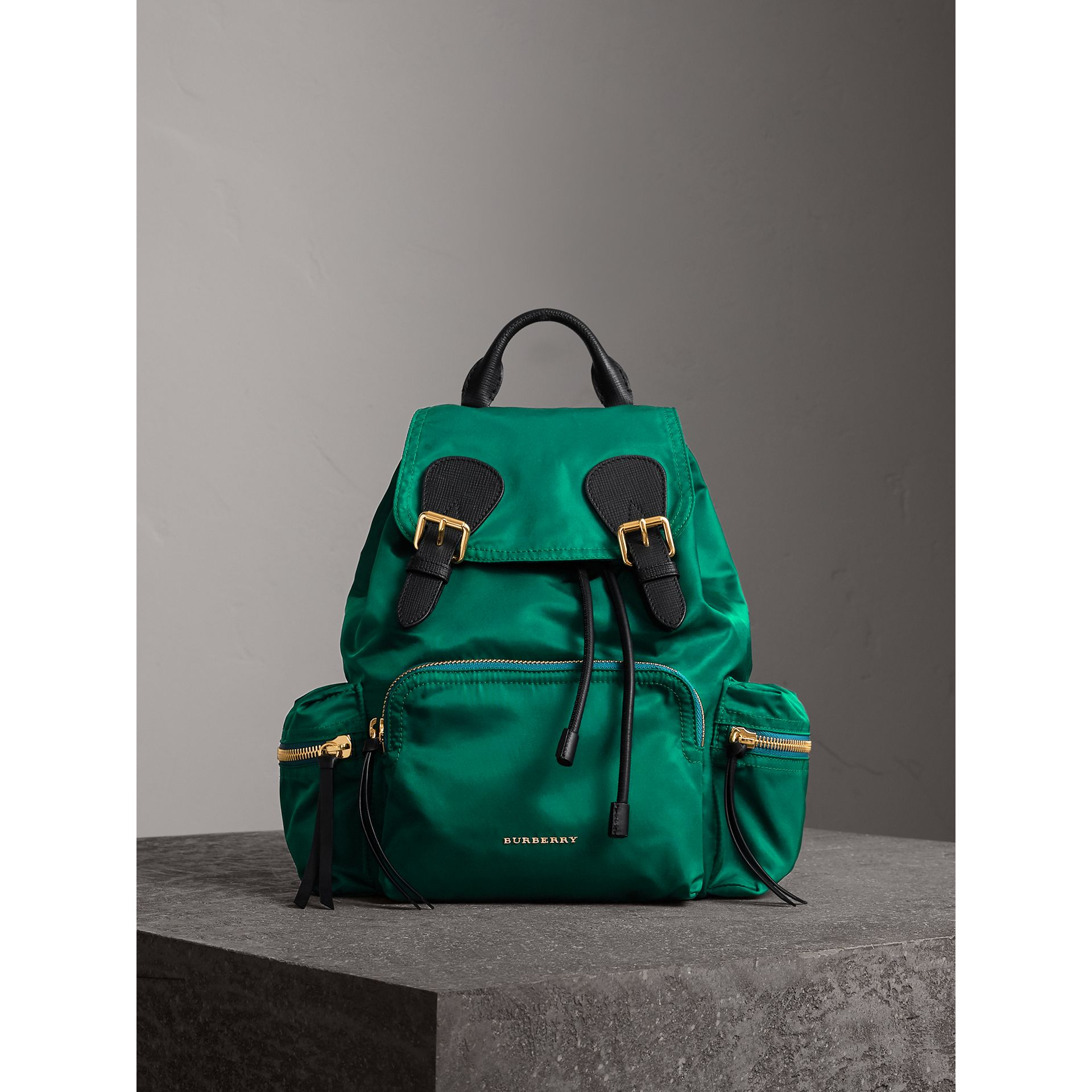 The Medium Rucksack in Technical Nylon and Leather in Pine Green - Women | Burberry - gallery image 1