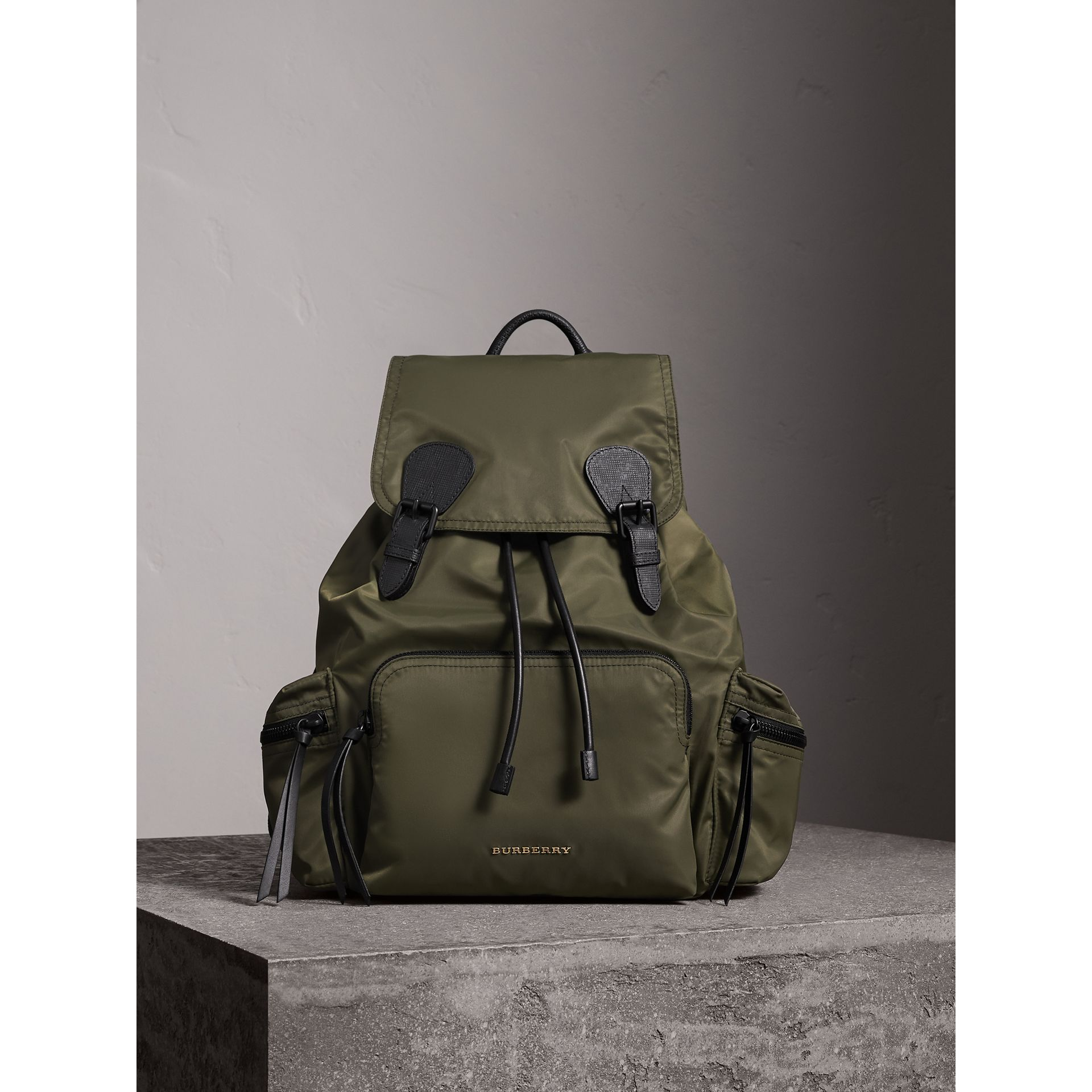 The Large Rucksack in Technical Nylon and Leather in Canvas Green | Burberry - gallery image 1