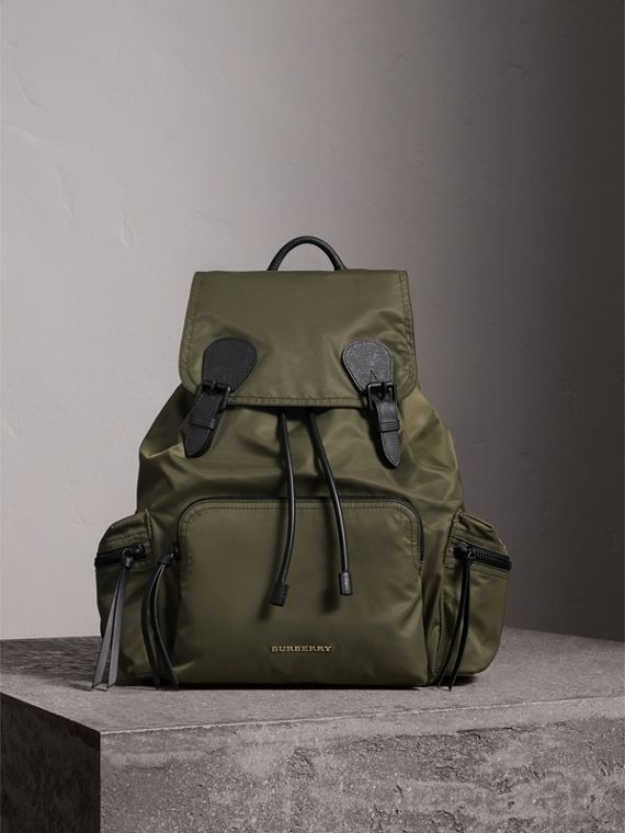 The Large Rucksack in Technical Nylon and Leather in Canvas Green