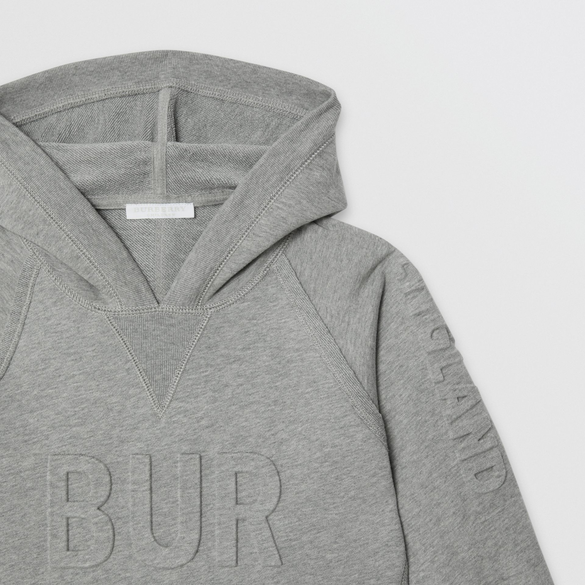 Embossed Logo Cotton Sweater Dress in Grey Melange | Burberry - gallery image 4