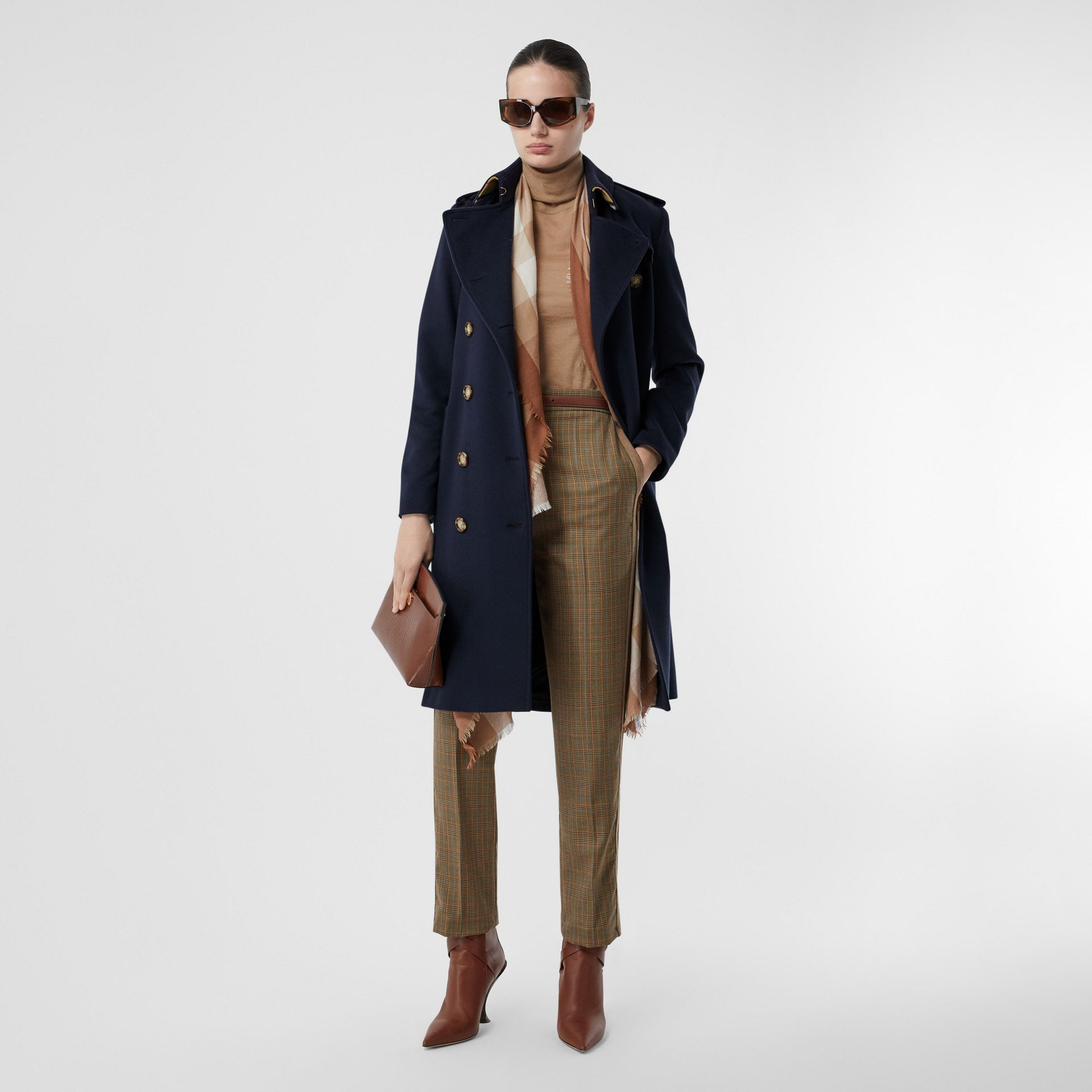 Cashmere Trench Coat in Navy - Women | Burberry - gallery image 0