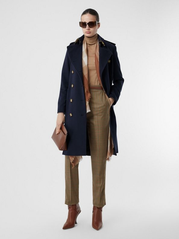 Cashmere Trench Coat in Navy
