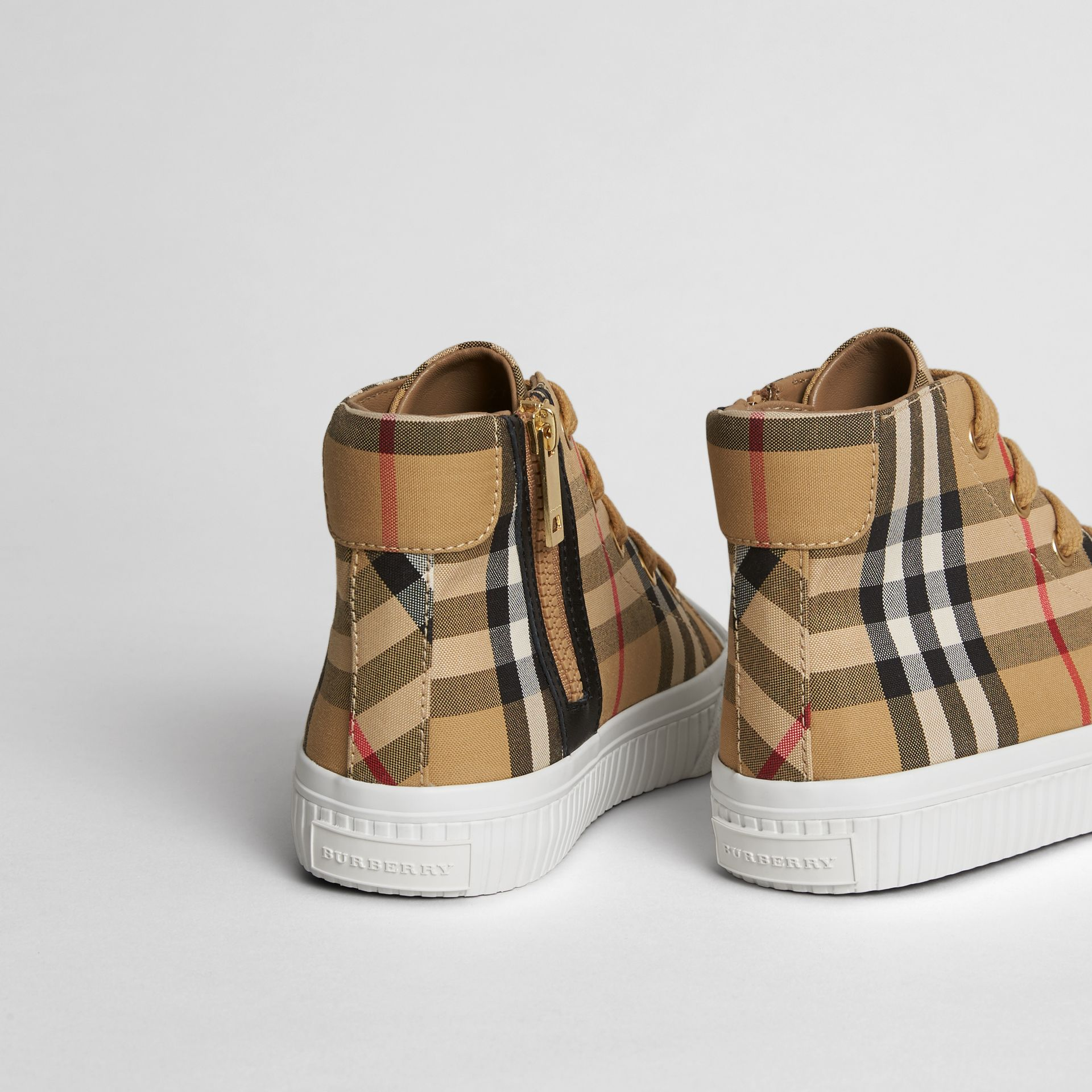 Vintage Check and Leather High-top Sneakers in Antique Yellow/optic White | Burberry United States - gallery image 2