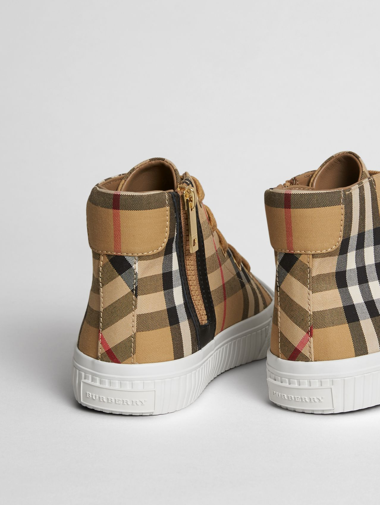 Vintage Check and Leather High-top Sneakers (Antique Yellow/optic White)