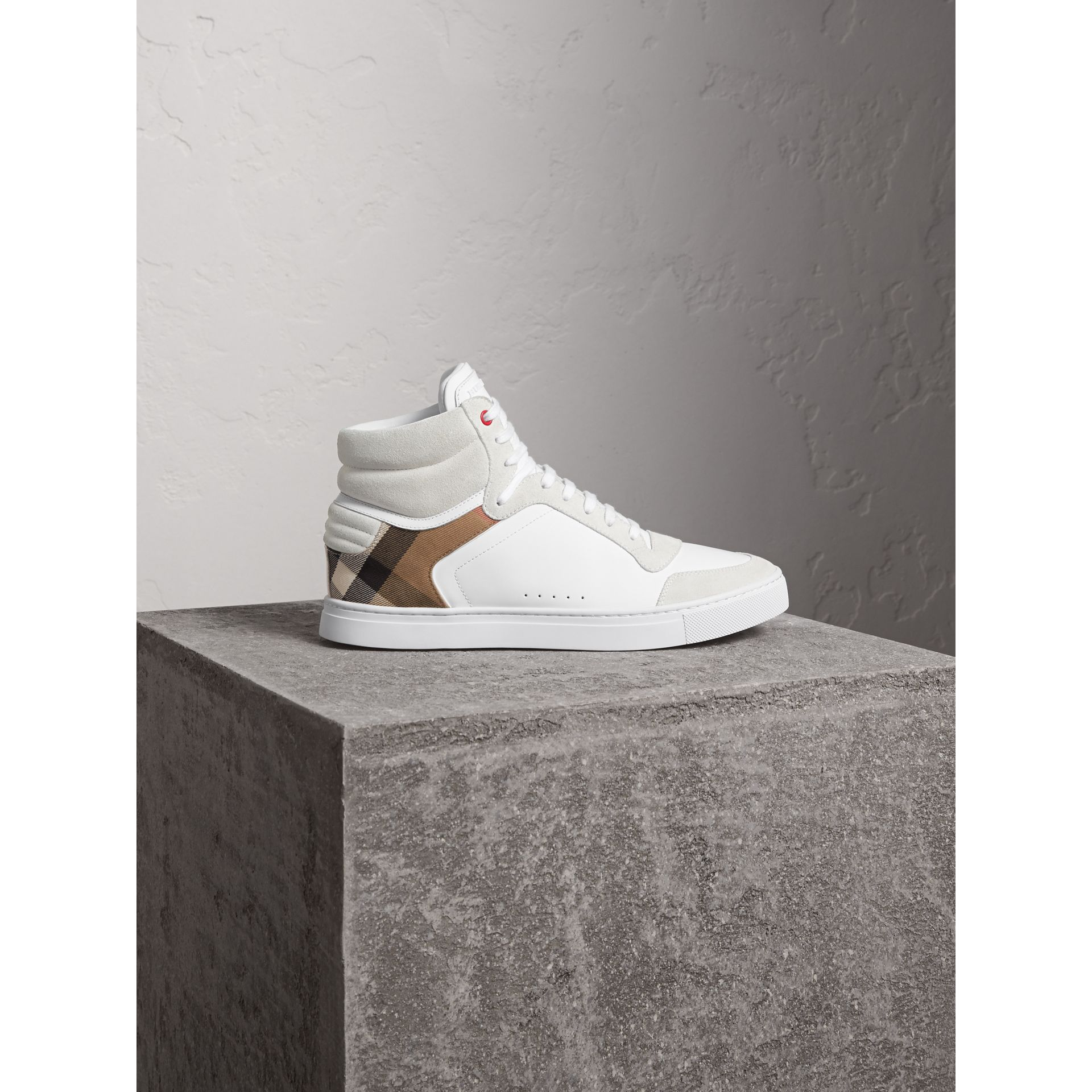 Leather and House Check High-top Trainers in Optic White - Men | Burberry Singapore - gallery image 1