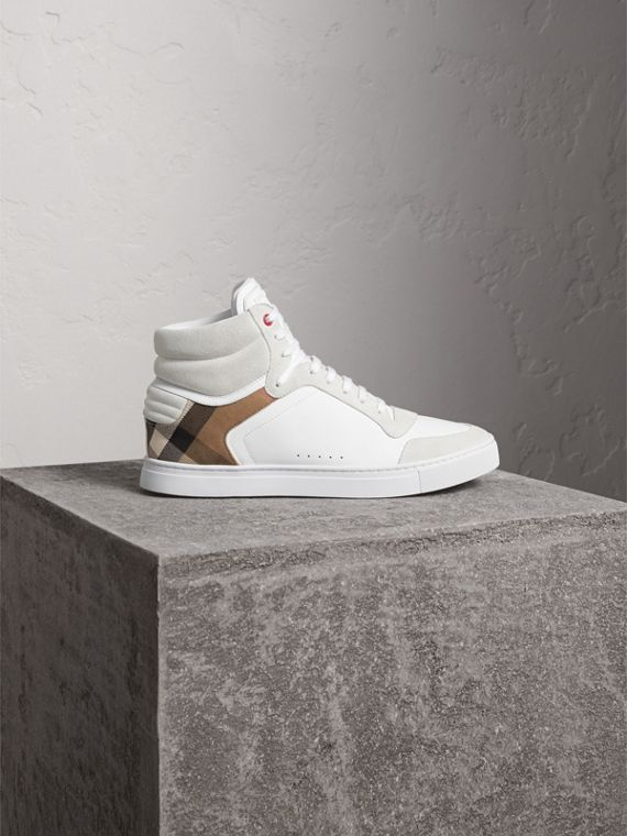 Leather and House Check High-top Trainers in Optic White - Men | Burberry Singapore