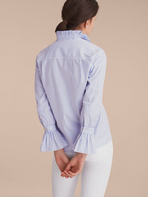 Ruffle Detail Striped Cotton Shirt - cell image 2