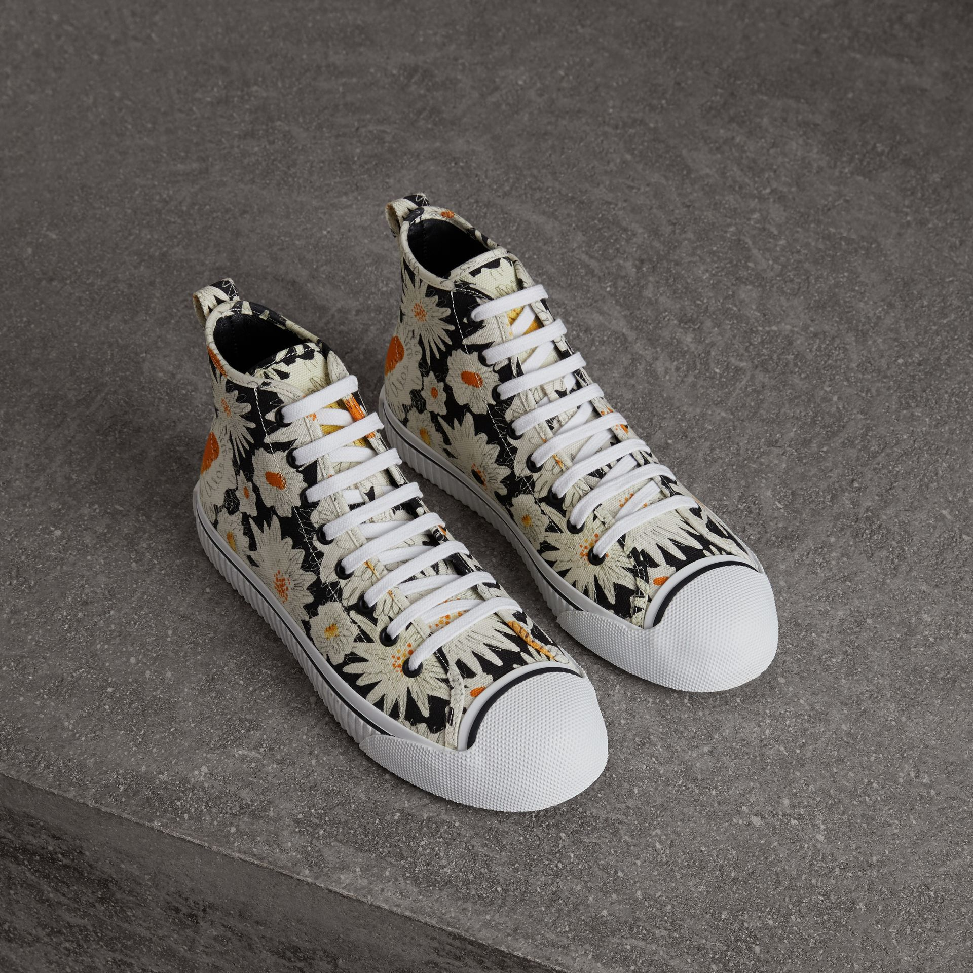 Daisy Print Canvas High-top Sneakers in Black - Men | Burberry Australia - gallery image 0