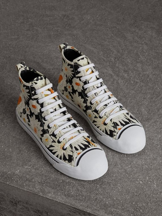 Daisy Print Canvas High-top Sneakers in Black