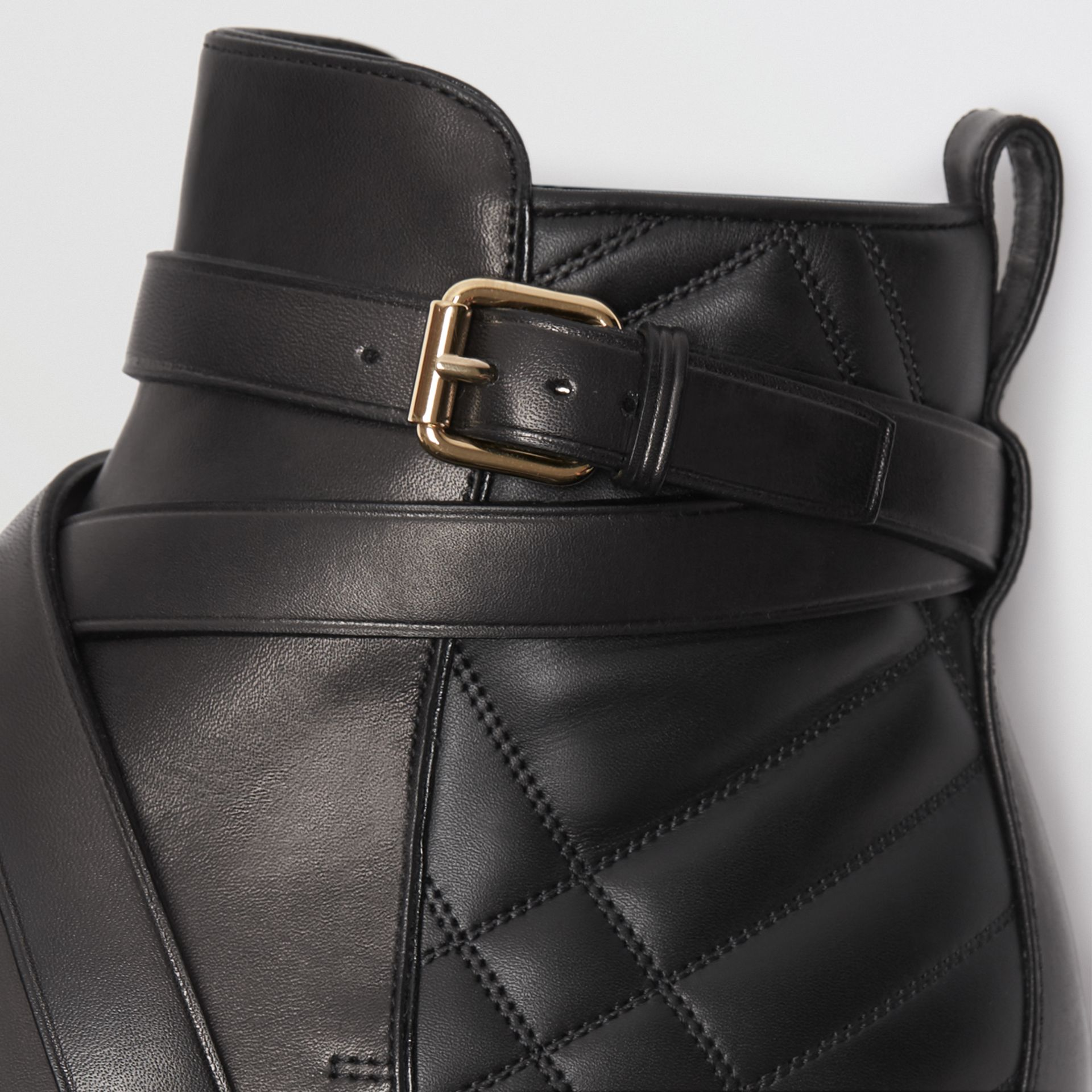 Strap Detail Quilted Leather Ankle Boots in Black - Women | Burberry United Kingdom - gallery image 1