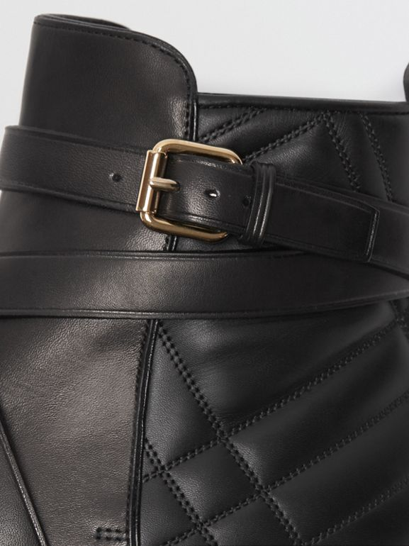 Strap Detail Quilted Leather Ankle Boots in Black - Women | Burberry United Kingdom - cell image 1