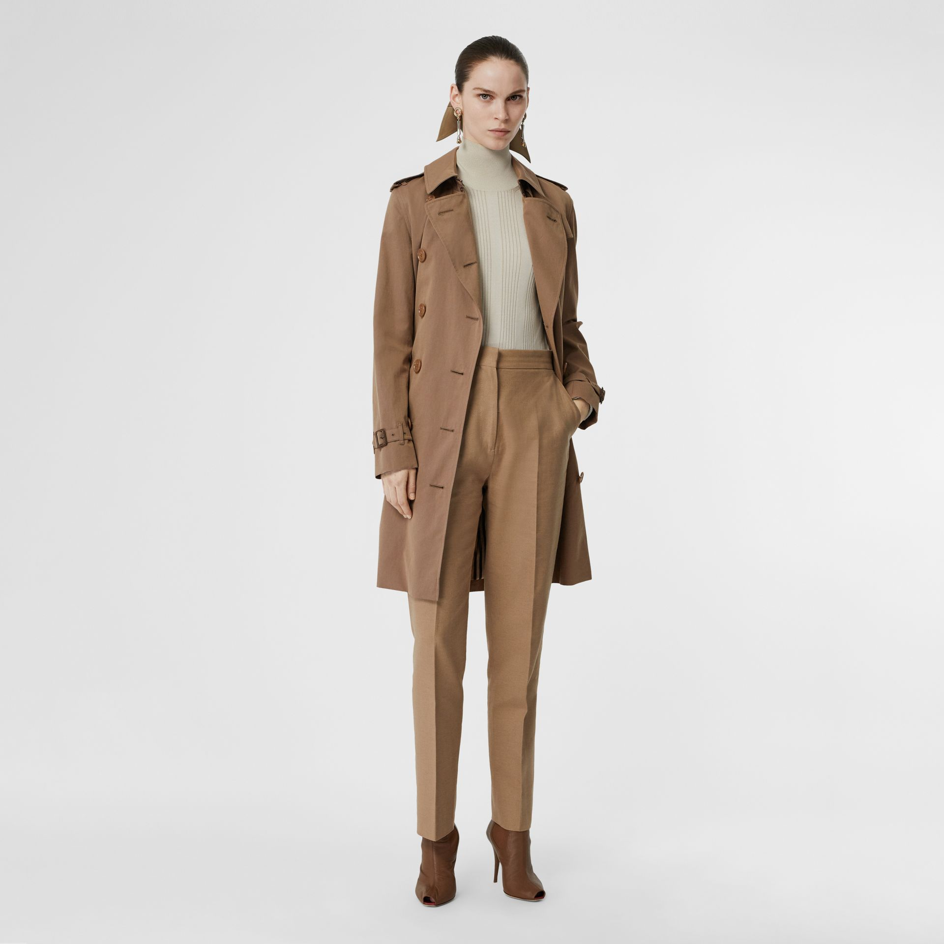 Tropical Gabardine Trench Coat in Taupe - Women | Burberry Singapore - gallery image 0