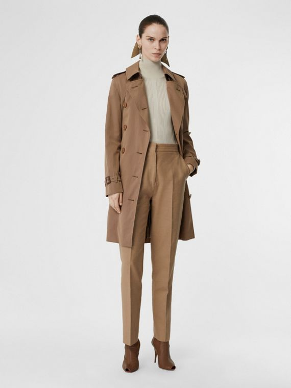 Tropical Gabardine Trench Coat in Taupe