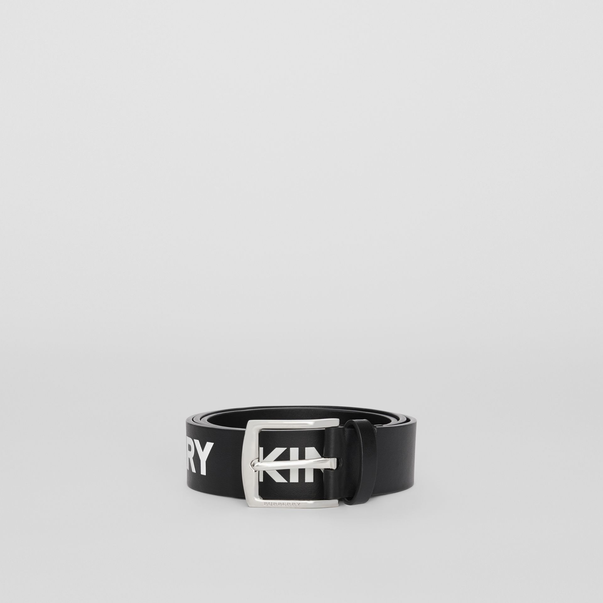 Kingdom Print Leather Belt in Black - Men | Burberry - gallery image 2