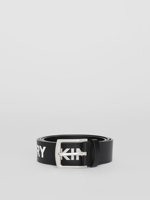 Kingdom Print Leather Belt in Black - Men | Burberry - cell image 2