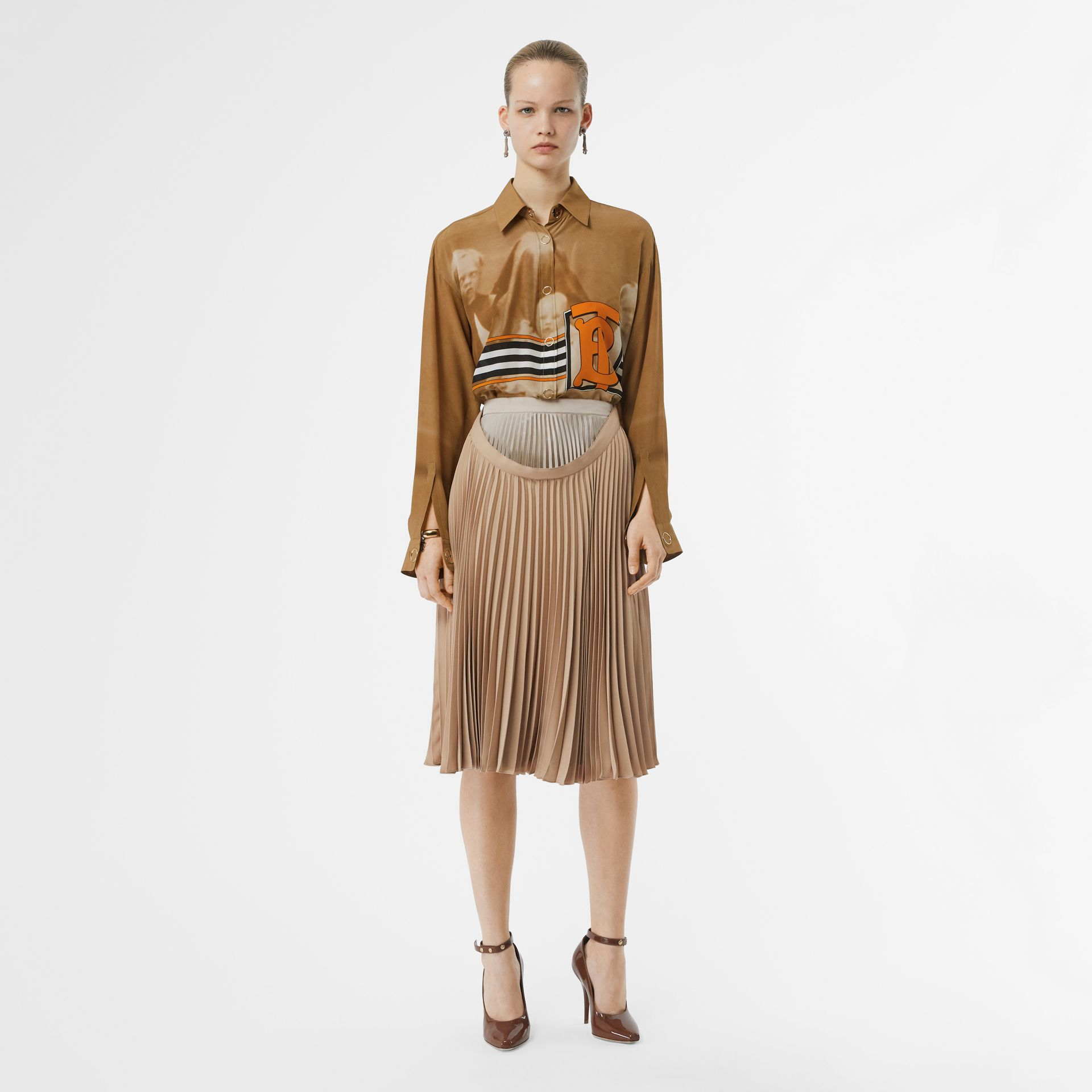 Pleated Double-waist Skirt in Sandbank - Women | Burberry Australia - gallery image 0
