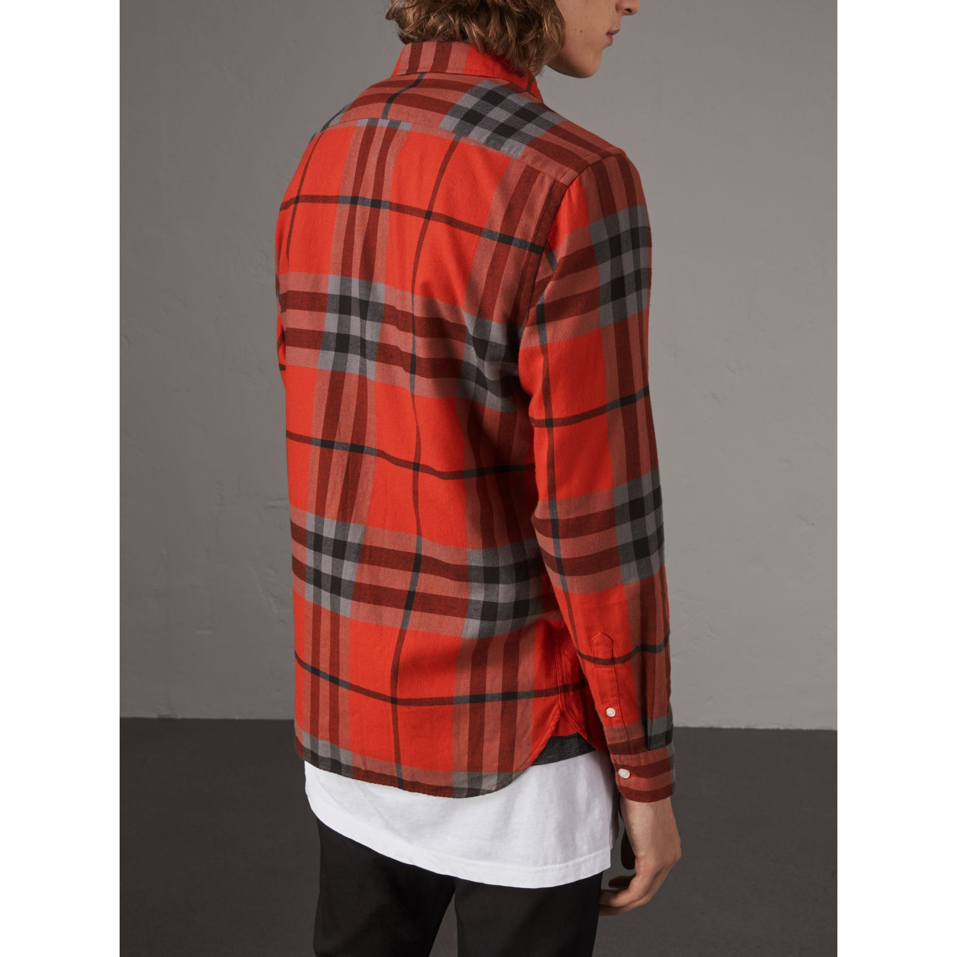 Check Cotton Flannel Shirt in Bright Red - Men | Burberry - gallery image 2