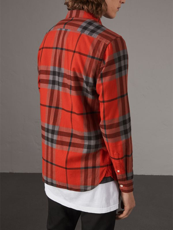 Check Cotton Flannel Shirt in Bright Red - Men | Burberry - cell image 2
