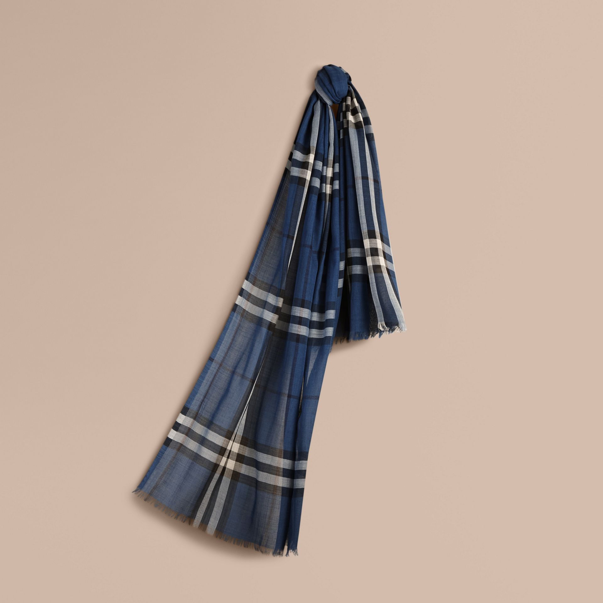 Cadet blue Lightweight Check Wool and Silk Scarf Cadet Blue - gallery image 1