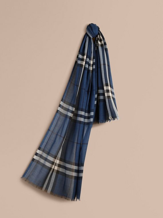 Lightweight Check Wool and Silk Scarf Cadet Blue