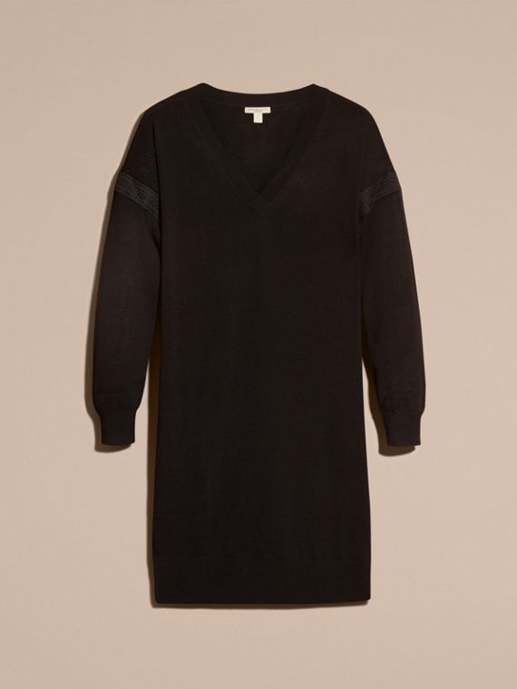 Black Lace-trimmed Merino Wool Dress - cell image 3