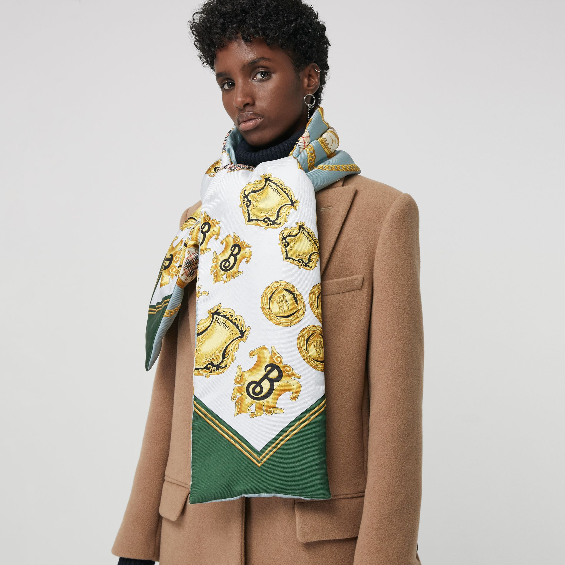 Archive Scarf Print Silk Puffer Scarf in Multicolour | Burberry United Kingdom - gallery image 5