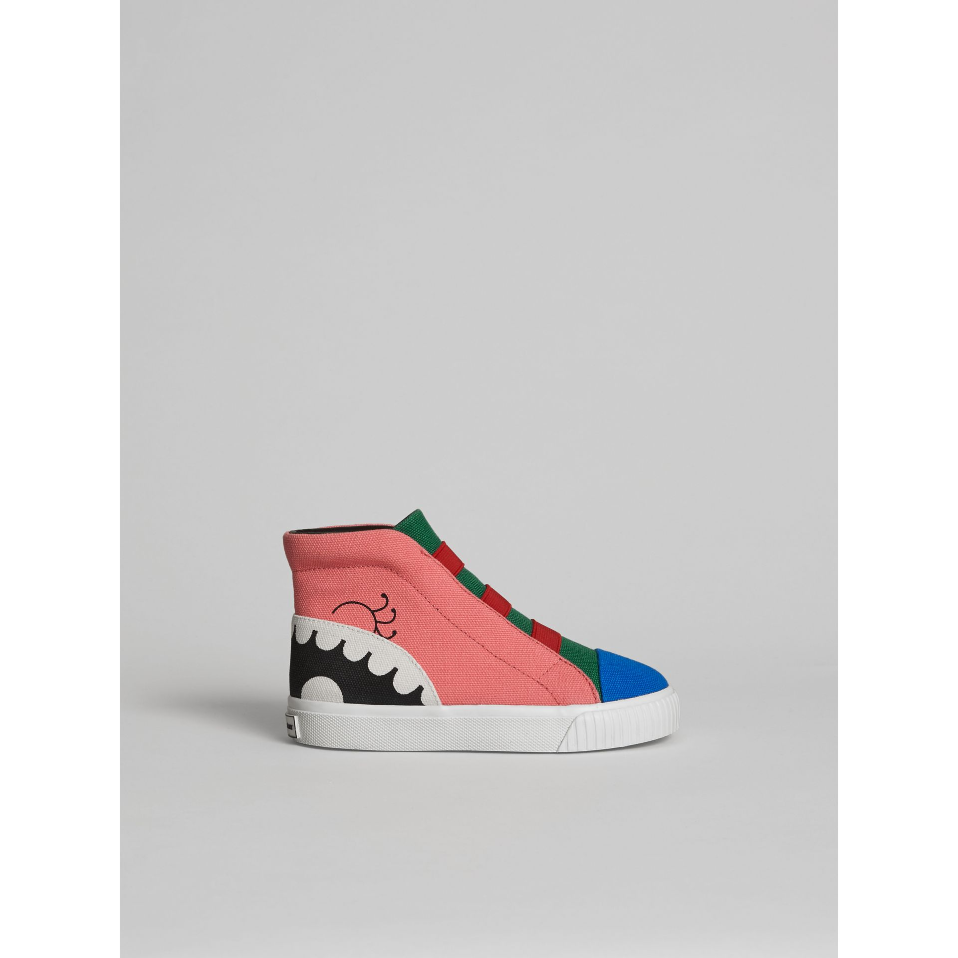 Monster Graphic High-top Sneakers in Pink Azalea | Burberry United Kingdom - gallery image 3