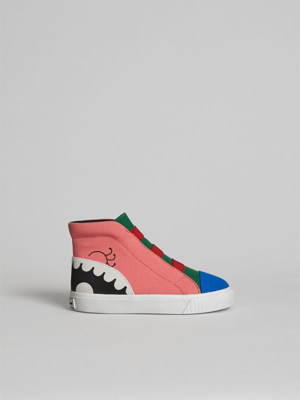 Monster Graphic High-top Sneakers in Pink Azalea | Burberry - cell image 3