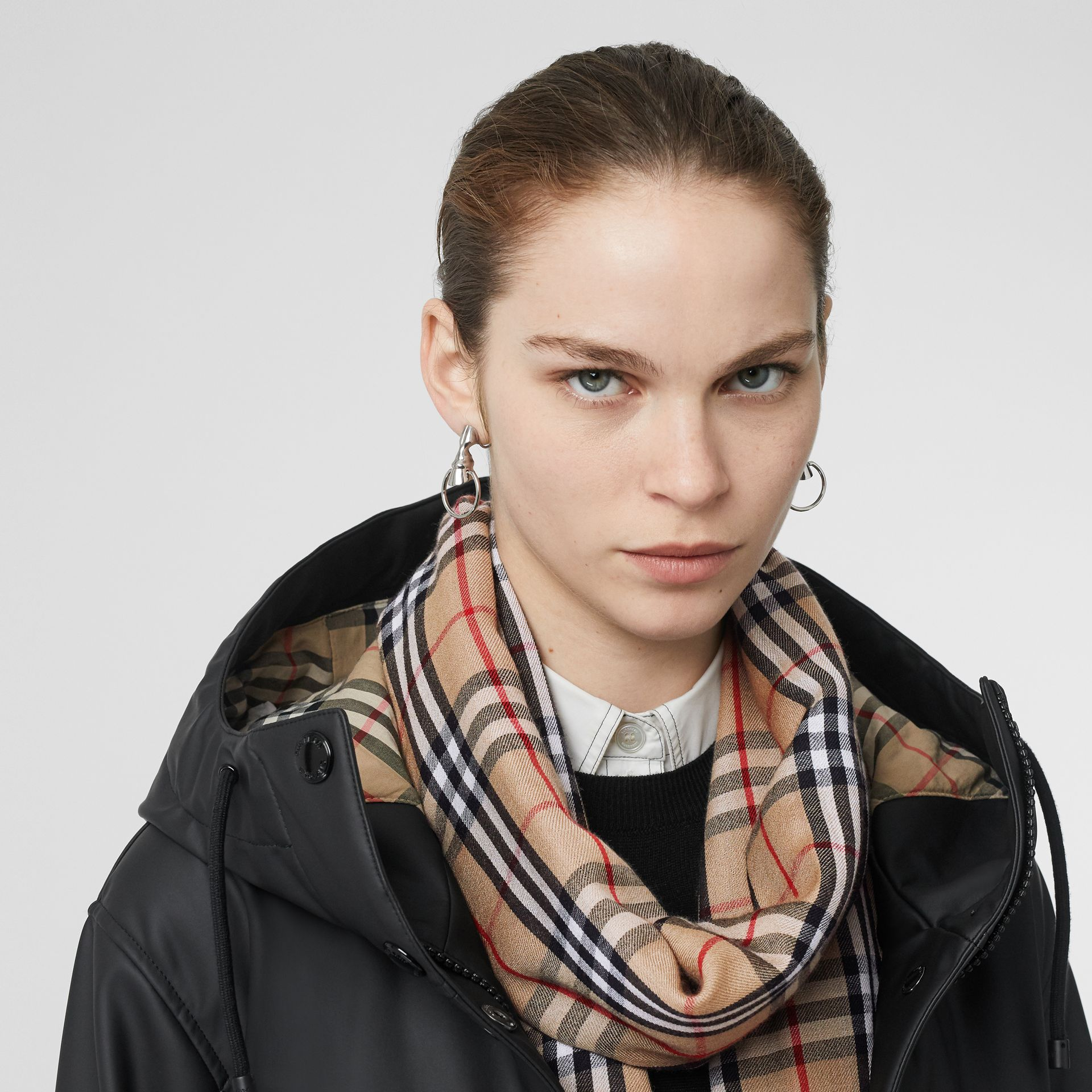 Embroidered Vintage Check Lightweight Cashmere Scarf in Camel | Burberry Singapore - gallery image 2